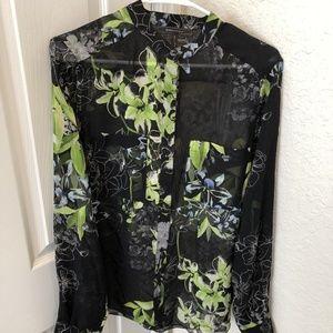 BCBGMaxazria Black Sheer Floral Button Down Blouse